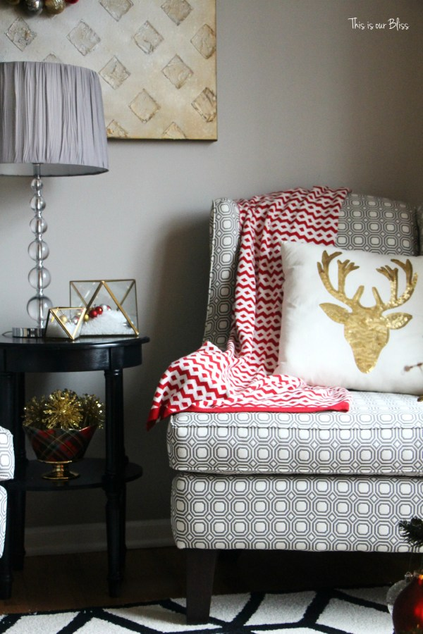 formal living room chairs - reindeer pillow - pattern play - This is our Bliss
