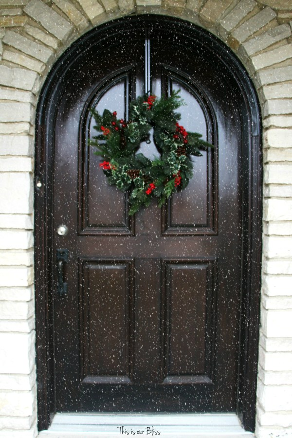 holiday home tour - snowfall front door - This is our Bliss front door - front door christmas wreath - This is our Bliss