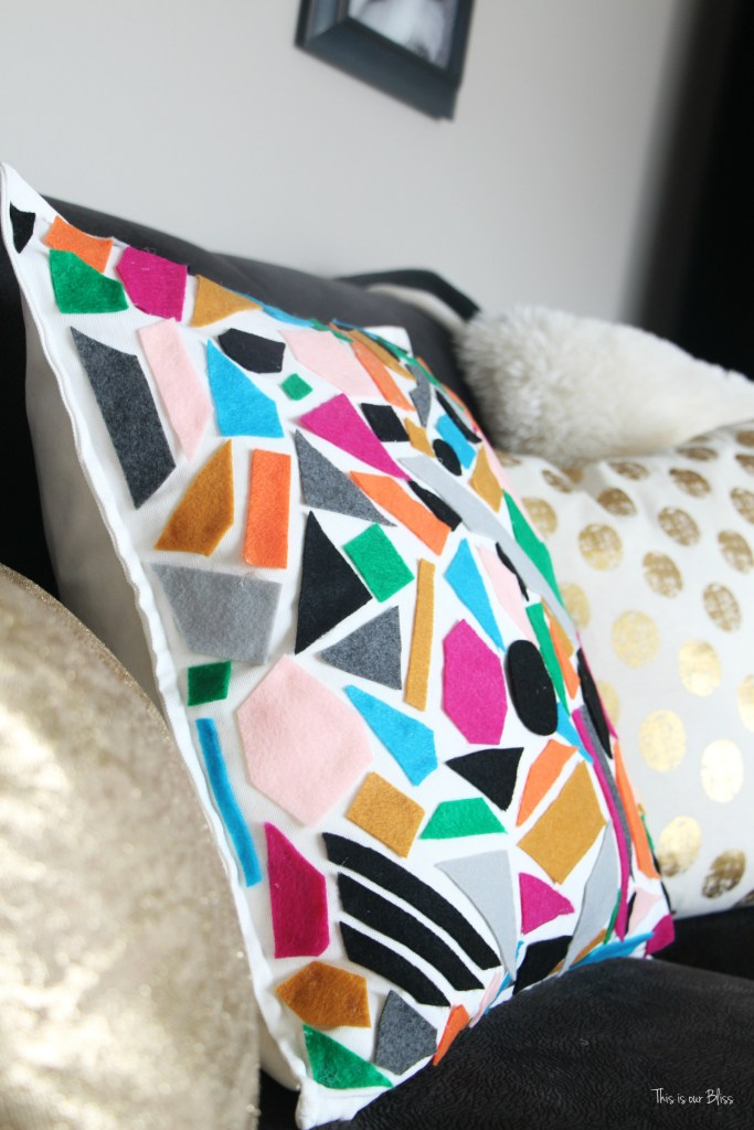 Knock it off DIY World Market inspired pillow how to make a no sew felt pillow This is our bliss
