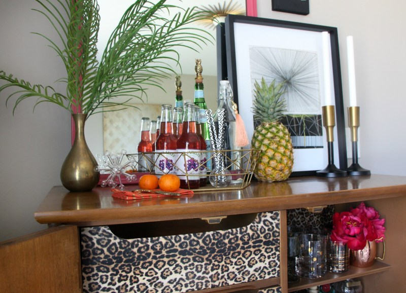 Eddie Ross Style Inspired by DIY   Indoor Summer bar styling   Thrifted dresser turned bar   This is our Bliss