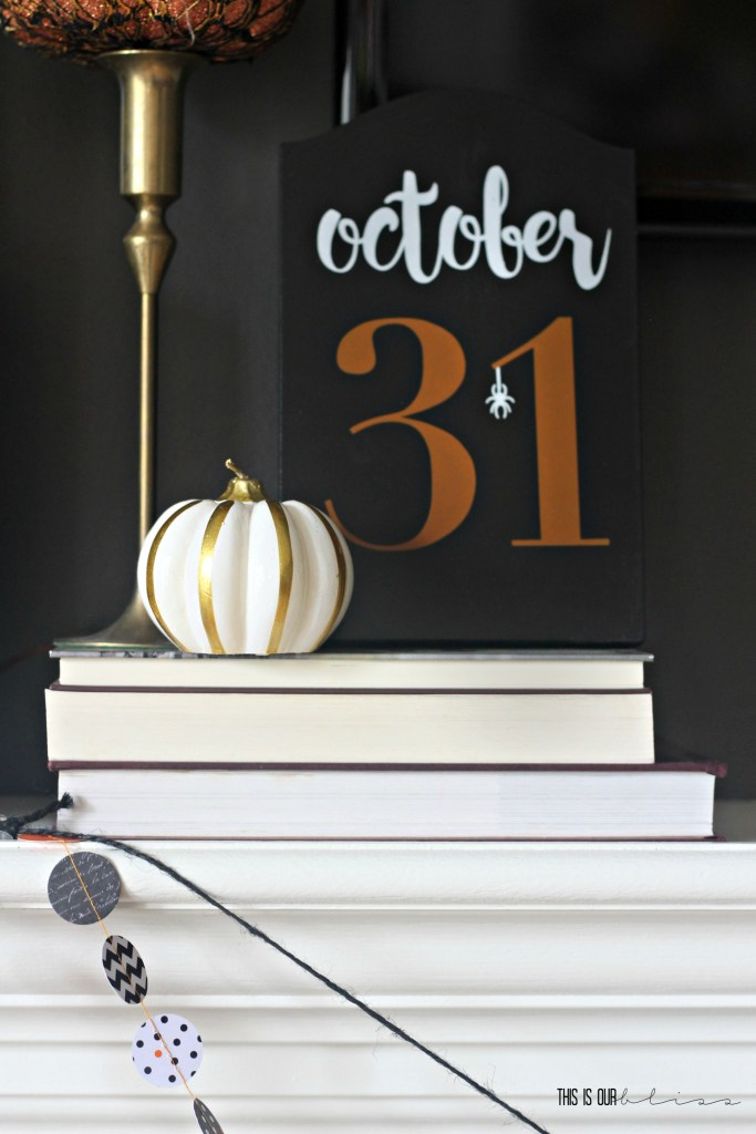 Simple Halloween Mantel | no-fuss Halloween decorating | This is our Bliss | www.thisisourbliss.com