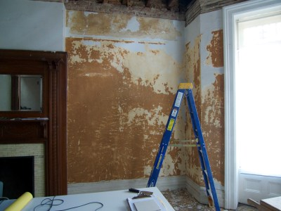 DIY Removing Painted Wallpaper Over Plaster Wall | THIS OLD CRACK HOUSE