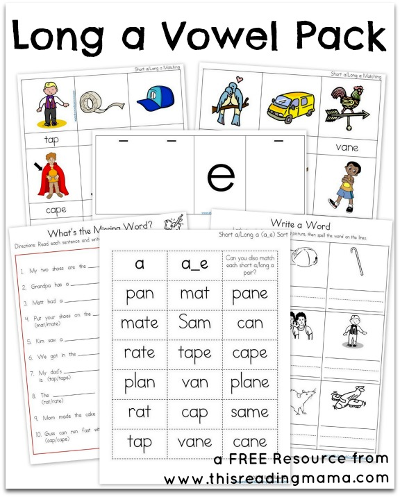 FREE Long A Vowel Pack - This Reading Mama