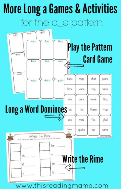 More Long a Games and Activities for a-e pattern {FREE}