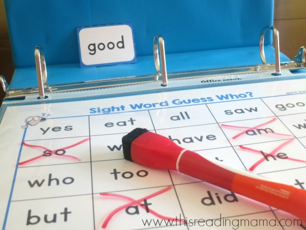 sight word guess who with plastic sleeve protector
