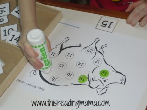 numbers 10-20, do a dot paint
