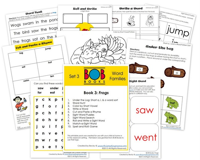 FREE BOB Book Printables for Set 3, Book 3 (Frogs) | This Reading Mama