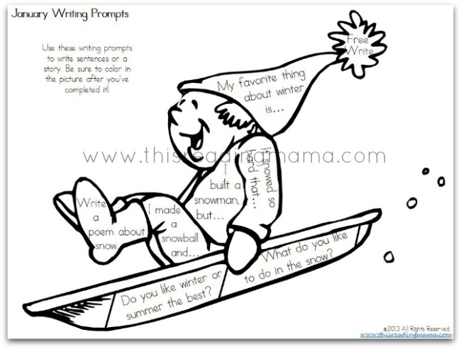 FREE January Writing Prompts   This Reading Mama