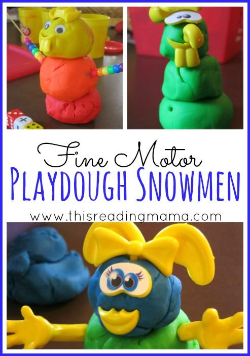 Fine Motor Playdough Snowmen | This Reading Mama