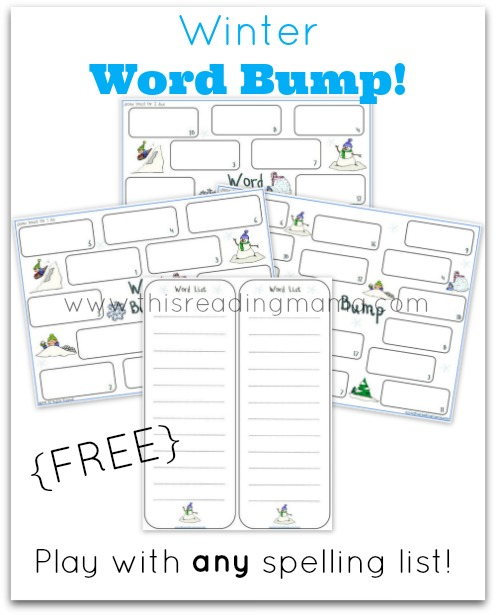 FREE Winter Word Bump Spelling Game | This Reading Mama