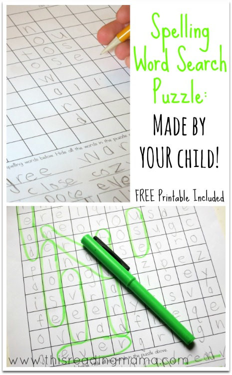 Spelling Word Search Puzzles - Made by YOUR Child~ | This Reading Mama