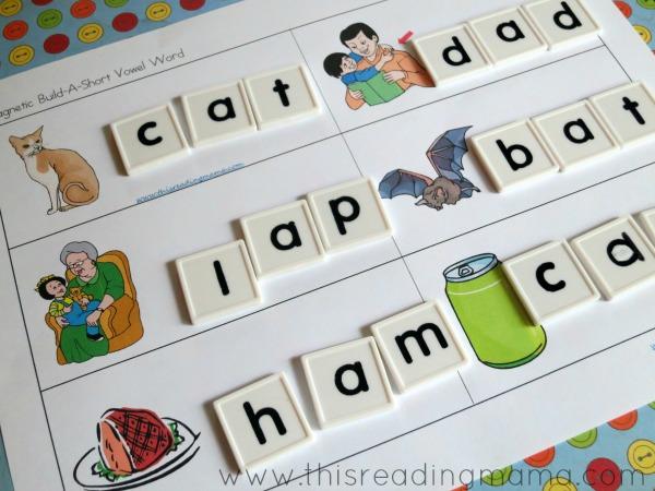 building short vowel words with letter tiles