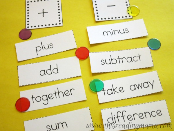 vocabulary words for addition and subtraction