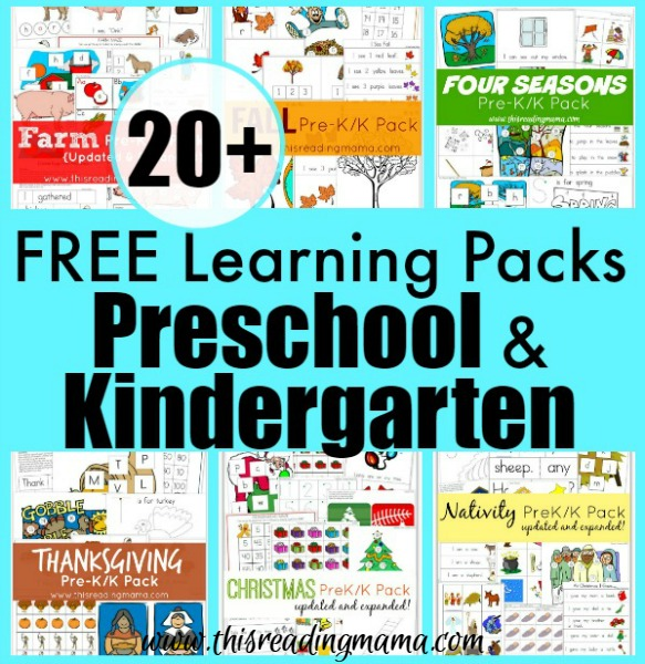 More than 20 FREE Learning Packs for Preschool - Kindergarten smaller - This Reading Mama