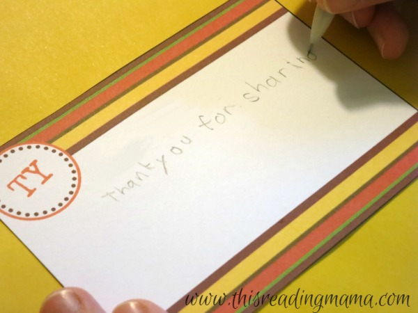 writing thank you notes to other people