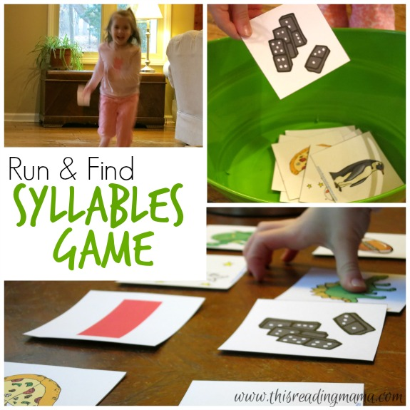 Run and Find Syllables Game ~ an Active Indoor Learning Game | This Reading Mama