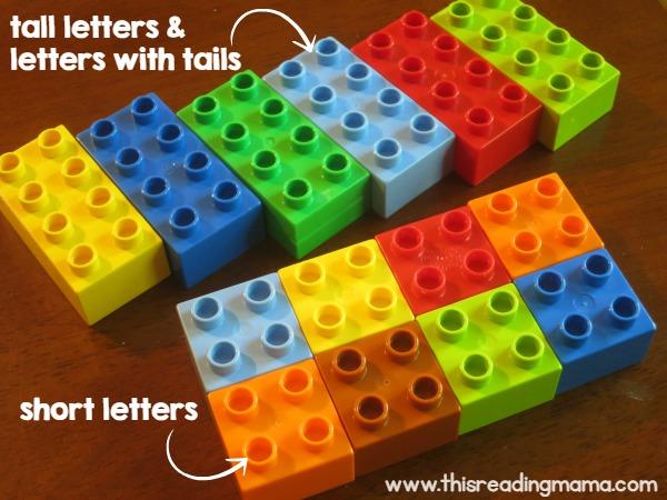 selecting DUPLO blocks for handwriting mats