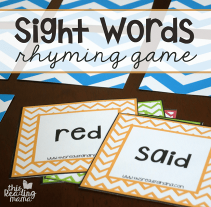 Sight Words Rhyming Game {FREE} - with 4 levels of play - This Reading Mama