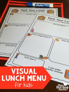 Visual Lunch Menu for Kids {free printable}
