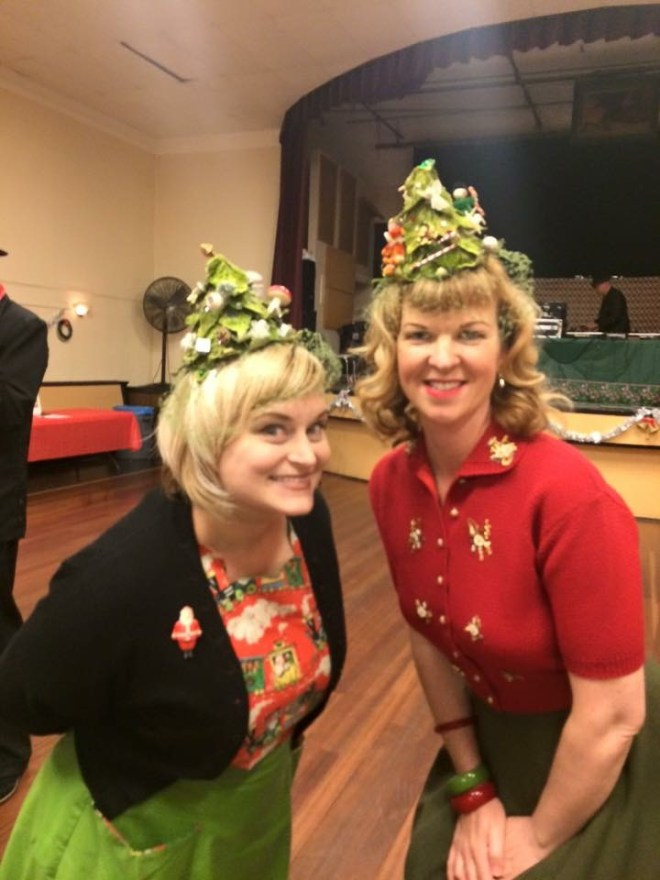 Photo of me and Linda in our matching hats by Linda Killduff Rogers