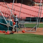 Taking batting practice