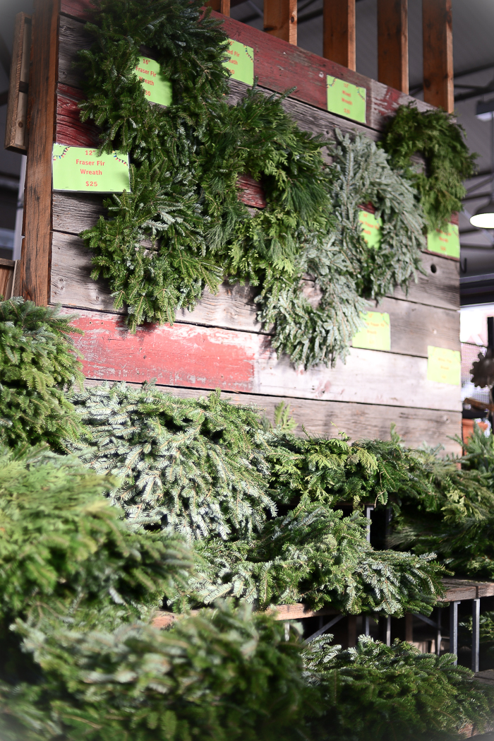Wreaths for sale at Evergreen Brickworks in Toronto