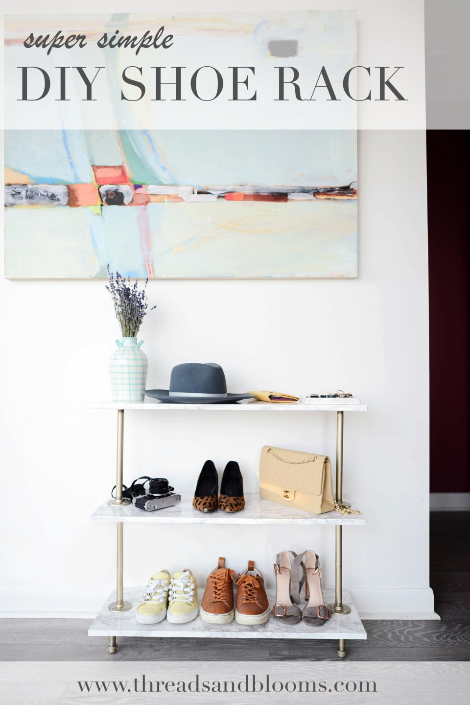 Simple DIY Shoe Rack using marble contact paper