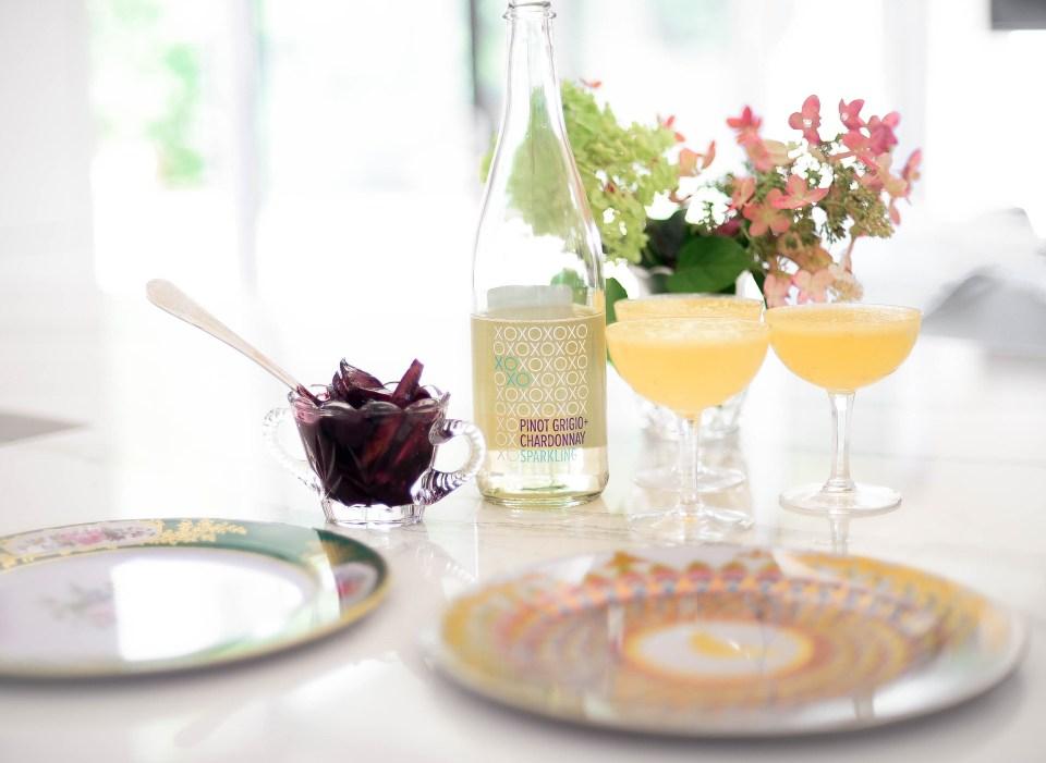 Peach Mimosa with XOXO Pinot Grigio Chardonnay Sparkling