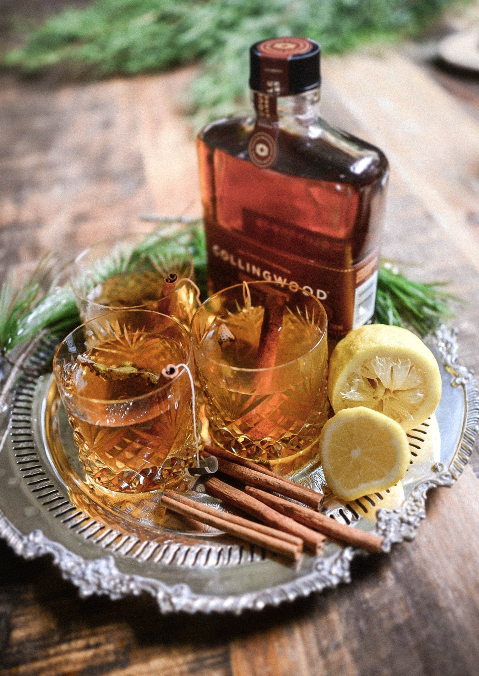 A different take on a hot toddy made with chai tea and Collingwood Whisky - a warm and spicy Chrismtas cocktail!