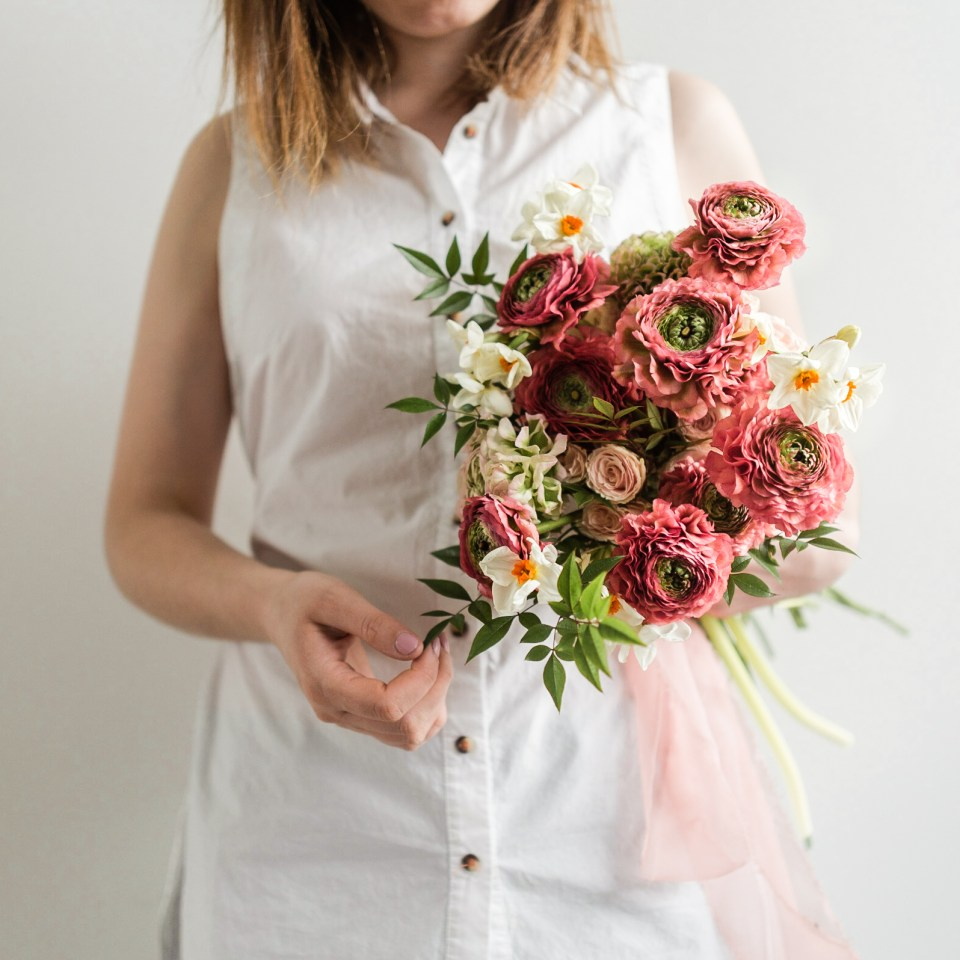 Spring Bridal Bouquet - Ranunculus and Daffodils