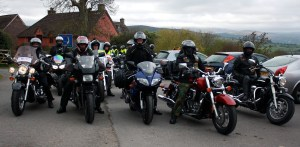 Some of the bikes leaving Brecon