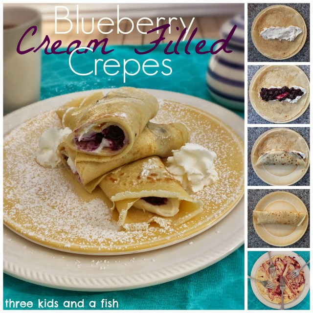 blueberry cream filled crepes and the how to make them.