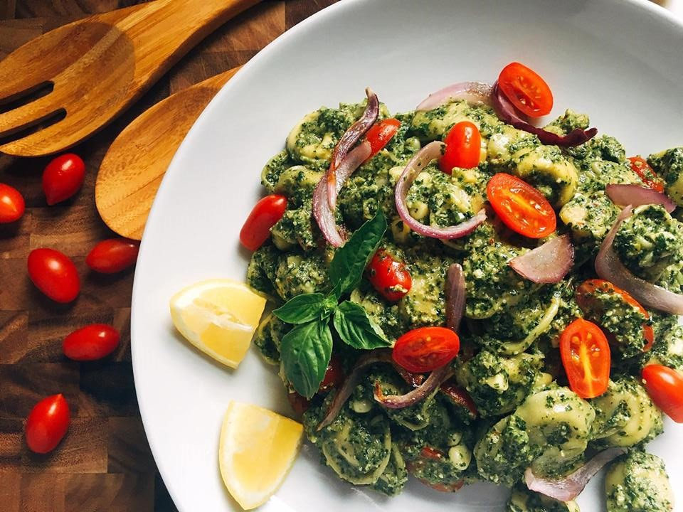 Simple and fast, this basil pesto is ready in just minutes! Full of bright and fresh flavors, this pesto is a regular in the menu rotation. | Three Olives Branch