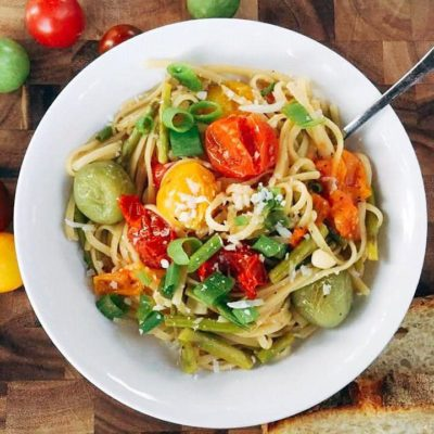 Spring Vegetable Fettuccine with White Wine Sauce