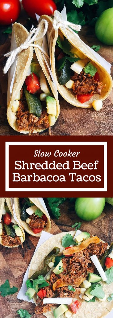 Just 5 minutes to throw everything in a slow cooker will give you an amazing Barbacoa packed full of flavor! These tacos and quick and customizable to please even picky eaters. Check out the post for a time saving hack to shred all this beautiful meat! Shredded Beef Barbacoa Tacos are gluten free. #shreddedbeef #beeftacos #mexicanrecipes #tacotuesday