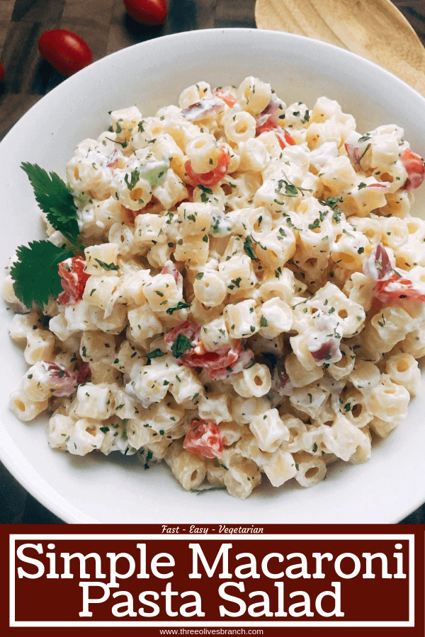 Simple Macaroni Salad is a quick side dish recipe for summer BBQ and grilling parties like Memorial Day, 4th of July, and Labor Day. Red onion, celery, and tomato are mixed with ditalini pasta in a creamy, tangy sauce. #pastasalad #macaronisalad #bbqsides