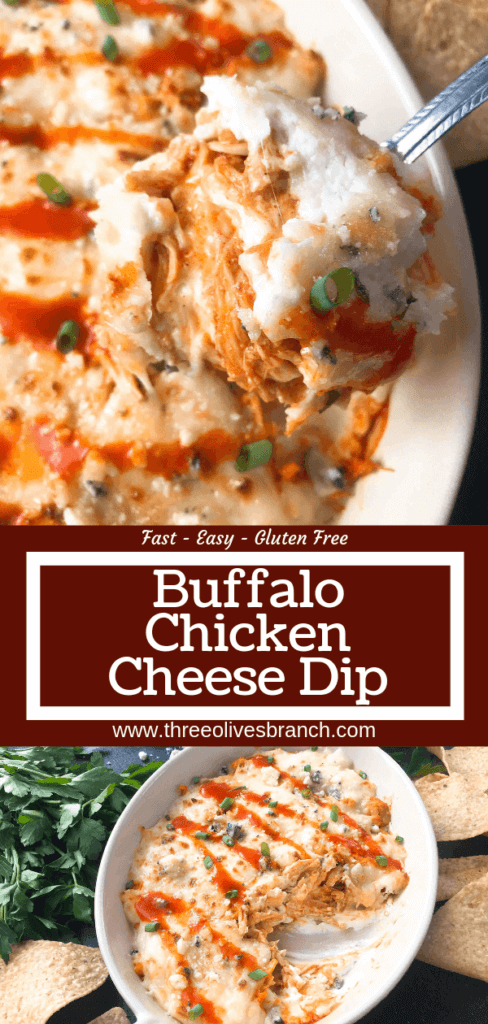 Only 15 minutes from start to finish, Buffalo Chicken is the star in this Buffalo Chicken Cheese Dip. A perfect appetizer recipe for the big game, using all the traditional flavors of buffalo wings with three cheeses. Fast, simple, and gluten free. #buffalochicken #gameday #cheesedip