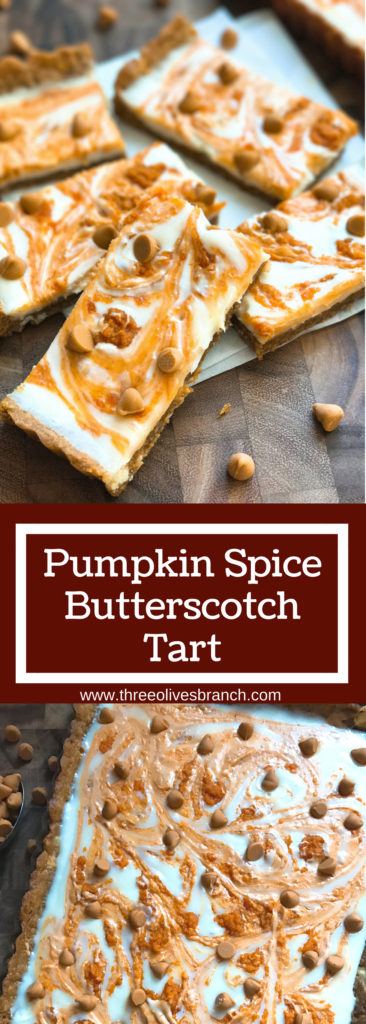 This fast and easy tart dessert recipe is perfect for busy moms and families living an on-the-go lifestyle! Just a few simple steps and this flavorful vegetarian tart will be ready to go. Perfect comfort food for fall and Thanksgiving baking! Cookie dough crust with a cream cheese filling, pumpkin puree, and butterscotch chips. Pumpkin Spice Butterscotch Tart | Three Olives Branch | www.threeolivesbranch.com #pumpkinspice #BakeHolidayGoodness #ad