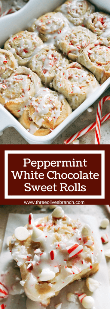 Make ahead rolls perfect for Christmas morning breakfast or brunch! Home made sweet rolls that are perfect for a new family holiday tradition. Vegetarian recipe and kid friendly comfort food, also great for parties. Peppermint White Chocolate Sweet Rolls | Three Olives Branch | www.threeolivesbranch.com