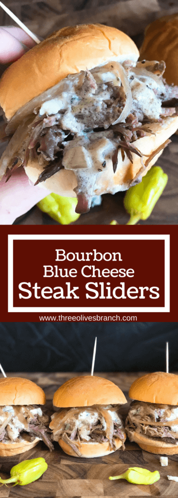 Use a slow cooker for simple and easy shredded steak sliders! Make the blue cheese sauce in advance for quick assembly. Perfect for your party, homegating, football or sport event like Super Bowl Sunday! Make them into a slider bar for customization. Kind friendly and lots of topping options like bacon, pickles, pepperoncini, and more! Bourbon Blue Cheese Steak Sliders | Three Olives Branch | www.threeolivesbranch.com