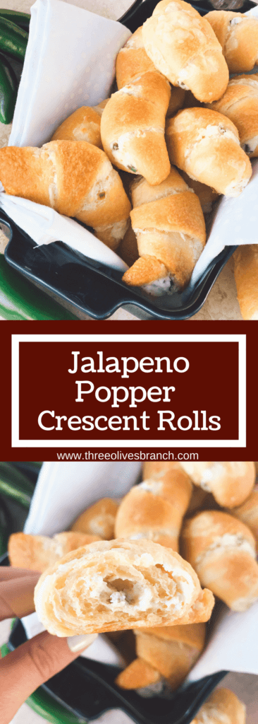 Ready in 20 minutes, these rolls are perfect for game day! Fast and easy to make as a cheesy appetizer or snack, and control the spicy level. Bring them to your party or gathering for a crowd pleaser! Jalapenos, cheese, and crescent rolls. Vegetarian and kid friendly. Jalapeno Popper Crescent Rolls   Three Olives Branch   www.threeolivesbranch.com