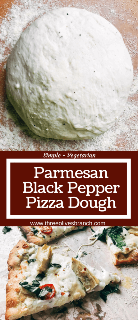 """Homemade pizza dough makes every pizza special! This fresh dough is simple and can be made in advance for a quick pizza night. Freezes well! Vegetarian, kid friendly, and delicious. Makes two 12"""" thin pizza crusts. Parmesan Black Pepper Pizza Dough 