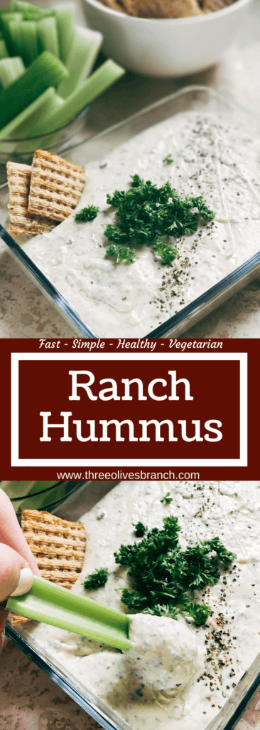 Ready in 5 minutes, this hummus is perfect as a snack, dip, appetizer, or spread. Classic flavors make this fast and simple treat a healthier way to enjoy ranch. Easy and quick to make, vegetarian, kid friendly. Parsley, Greek yogurt, garbanzo beans, lemon, and more! Ranch Hummus | Three Olives Branch | www.threeolivesbranch.com