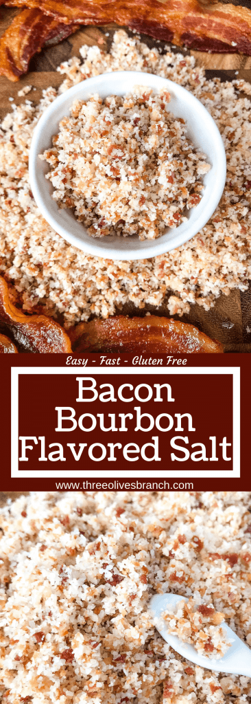 Fast and simple salt recipe ready in just minutes. Bacon and bourbon are blended with kosher salt to make a flavored salt that is perfect on anything! Beef and steak, chicken, pork, seafood, vegetables, and more. A flavorful seasoning that makes a great foodie gift or for people that are difficult to shop for. Perfect for summer grilling and BBQ events like 4th of July, Memorial Day, and Labor Day or Father's Day gift. Bacon Bourbon Flavored Salt #bacon #flavoredsalt