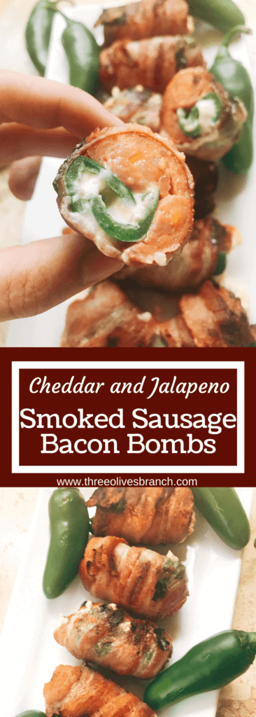 Grill up some of these smoky, cheesy treats for your next summer party. Eckrich Cheddar and Jalapeno Smoked Sausage is stuffed with a jalapeno pepper (which has been filled with cheddar and cream cheese), then rolled in bacon and grilled until crispy. They make such a fun appetizer or dinner for the pork lovers. A fun twist on a jalapeno popper and full of flavor. A great way to kick of football Sunday or game day. Cheddar Jalapeno Smoked Sausage Bacon Bombs | Three Olives Branch | www.threeolivesbranch.com