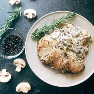 Pork Medallions with Creamy Peppercorn Mushroom Pasta