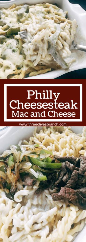 Philly cheesesteak flavors transform a classic comfort food recipe into a hearty meal. Steak, bell peppers, and onions are tossed with pasta in a cream cheese and provolone cheese sauce and baked off. A great kid friendly meal for cold weather comfort food. Philly Cheesesteak Mac and Cheese | Three Olives Branch | www.threeolivesbranch.com