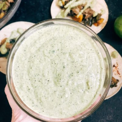 Roasted Poblano Lime Crema for Taco Night