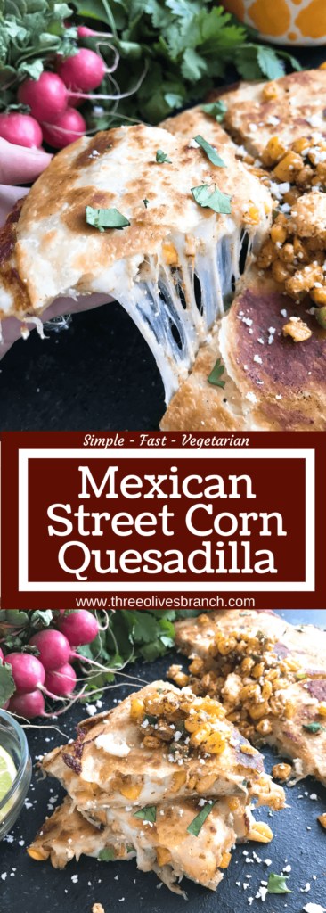 A quick and simple recipe ready in 20 minutes, these quesadillas feature the flavors of elote. Monterey Jack or mozzarella cheese is layered with corn, cotija cheese, jalapeno, lime, and chili powder for a fun and unique snack, lunch, or party appetizer. Vegetarian. Mexican Street Corn Quesadilla | Three Olives Branch | www.threeolivesbranch.com #cincodemayo