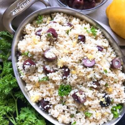 Vegan Mediterranean Lemon Olive Couscous